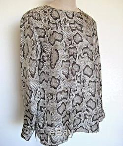 Etro Gray Reptile Print 100% Silk Long Sleeve Tunic Blouse Top Size L Euro 46