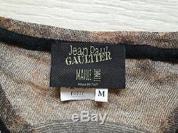 Extra RARE Authentic Jean Paul Gaultier Top Long Sleeve Clock Print Mesh Sz M