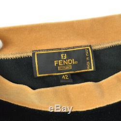 FENDI 9 9381 8 Logos Long Sleeve Tops Brown Black Italy #42 Authentic AK38661j