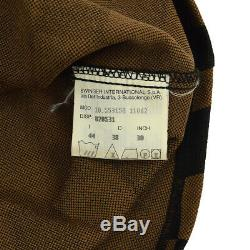 FENDI Checked Pattern Front Opening Long Sleeve Tops Black Brown Italy A36240f