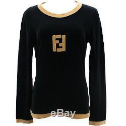FENDI FF Logos Long Sleeve Tops Black Beige Velor Vintage Italy Auth #JJ156 I