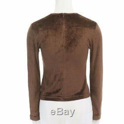 FENDI JEANS Vintage brown velvet black logomania mesh long sleeve top IT40 S