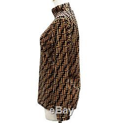 FENDI Jeans Zucca Long Sleeve Tops Brown Beige Velor Vintage Italy Auth #MM253 Y