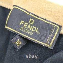 FENDI Logos Long Sleeve Tops 38 Black Beige Velor Vintage Italy Auth #AC62 Y