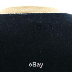 FENDI Logos Long Sleeve Tops 38 Black Beige Velor Vintage Italy Auth #GG785 I
