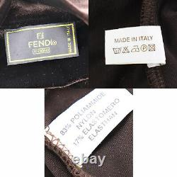 FENDI Logos Long Sleeve Turtleneck Tops Brown Velor Vintage Italy Auth #AC19 S