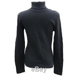 FENDI Maglia Logos Turtleneck Long Sleeve Tops Black Cotton Italy Auth #GG202 I