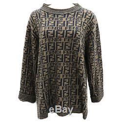 FENDI Mare Zucca Logos Long Sleeve Tops Black Brown Wool Italy Auth #JJ632 I