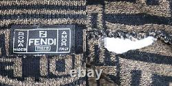 FENDI Mare Zucca Long Sleeve Tops Brown Black Knit Vintage Italy Auth #AC191 S