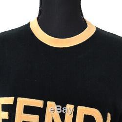 FENDI Vintage Logos Long Sleeve Tops Brown Black Italy #38 Authentic M14729