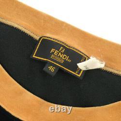 FENDI Vintage Logos Long Sleeve Tops Brown Black Italy Authentic 00806