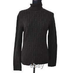 FENDI Vintage Zucca Pattern Long Sleeve Sweater Tops Brown Authentic AK31599d