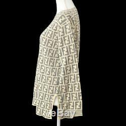 FENDI Vintage Zucca Pattern Long Sleeve Tops White Gray Italy AK31600b