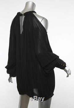 FENDI Womens Black Open-Shoulder Long-Sleeve Pleated Top Blouse Mini Dress OSFA