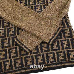 FENDI Zucca Pattern Long Sleeve Knit Tops Blouse Shirt Brown Black #38 Y04488