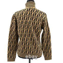 FENDI Zucca Pattern Long Sleeve Knit Tops Blouse Shirt Brown Black #46 35072