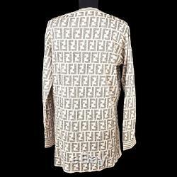 FENDI Zucca Round Neck Long Sleeve Knit Tops Shirt Light Pink Gray #44 AK36516