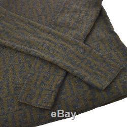 FENDI Zucca Turtle Neck Long Sleeve Knit Tops Shirt Brown Gray #42 AK38562