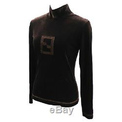 FENDI maglia Logos Long Sleeve Tops Brown Velor Vintage Italy Auth #GG328 I