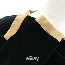 FENDI maglia Long Sleeve Tops 40 Black Beige Velor Vintage Italy Auth #AA424 M