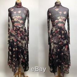 FUZZI by Jean Paul Gaultier Mesh 2 Piece Skirt Long Sleeve Top Small Medium