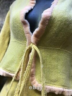 Fendi Dress 2 Piece Yellow Wool/Silk Blend Tie String Top and Side Zipper Bottom