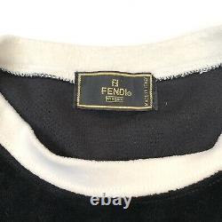 Fendi Vintage FF Logo Top Velvet Cotton Long Sleeve Black White Authentic