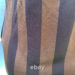 Fendi Vintage Zucca FF Logo Pequin Strips Top Long Sleeve Brown Size S