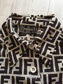 Fendi Zucca Print Shirt Long Sleeve FF Logo Print Monogram Trotter Top