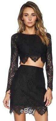 For Love & Lemons Grace Lace Long Sleeve Crop Top and Skirt Set Gray Size S & XS