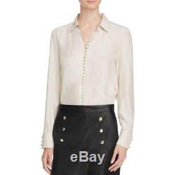 Frame Shirt 1093 Womens Tan Silk Long Sleeves Victorian Button-Down Top L BHFO