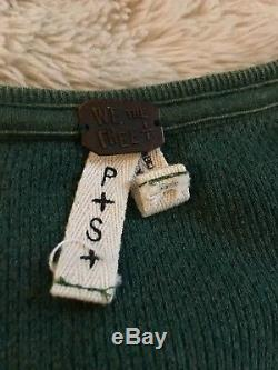 Free People Emerald Green Kyoto Cuff Thermal Waffle Long Sleeve Top S