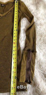 Free People Zipper Cuff Thermal Top Fatigue Army Olive Green Long Sleeve Waffle