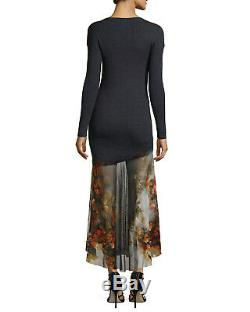 Fuzzi Multicolor Women's Long-sleeve Sweater Top With Mesh Skirt Wool Dress New M