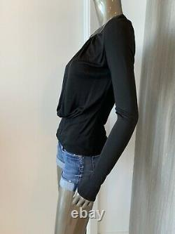 GIANNI VERSACE Womens Black Deep Plunge with Leather Top Sz 40/ 2/ 4 Vintage Rare