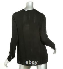 GIVENCHY Black Silk Long Sleeve Top Blouse Lace Front Chemise US6 FR38 NEW