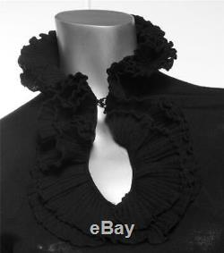 GIVENCHY Black Thin Knit Long Sleeve Sweater Top Blouse Ruffle Layered Collar S