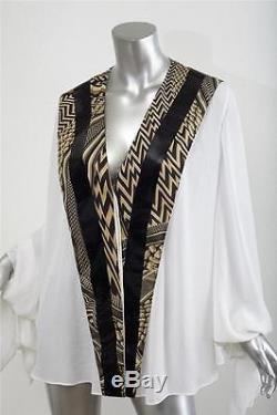 GIVENCHY White Chiffon Chevron Stripe Draped Long-Sleeve Blouse Top Shirt M