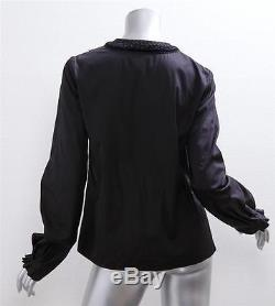 GIVENCHY Womens Black Cotton Long-Sleeve Lace Velvet Trim Shirt Top Blouse 38/4