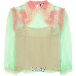 GUCCI $1400 Green Pink Silk Organza Ruffle Peter Pan Collar LS Blouse Top 40/2/4