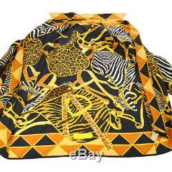 GUCCI Animal Print Long Sleeve Tops Shirt God Black Silk #40 Y03726d