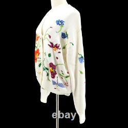 GUCCI Flower Pattern Cardigan Tops #40 White 100% Cotton Authentic Y04134b