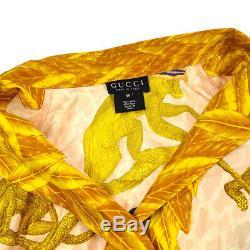 GUCCI Front Opening Monkey Print Long Sleeve Tops Shirt Pink Gold #38 AK38282