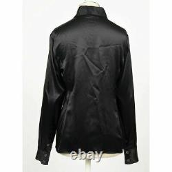 GUCCI Vintage RUNWAY TOM FORD ERA 1995 Black 100% Silk SATIN DRESS SHIRT TOP