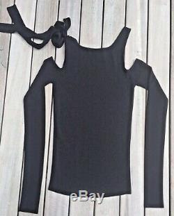 GUCCI black viscose COLD SHOULDER Long Sleeve Knit top/Shirt L