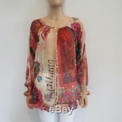 Galliano Multicolor Print Sheer Silk Ruffle Long Sleeve Blouse/Shirt/Top 40