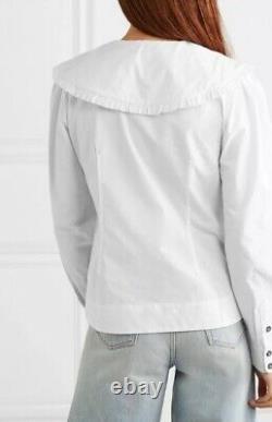 Ganni Ruffled Collar Cotton Shirt Size 36