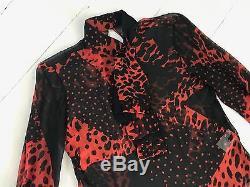 Giambattista Valli red and black printed seta silk long sleeve top