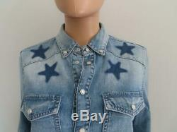Givenchy Blue Star Printed Denim Long Sleeve Shirt/Blouse/Top Size 42 $1,130