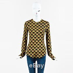 Givenchy Yellow Black & White Jersey Knit Long Sleeve Eye Print Top SZ 38